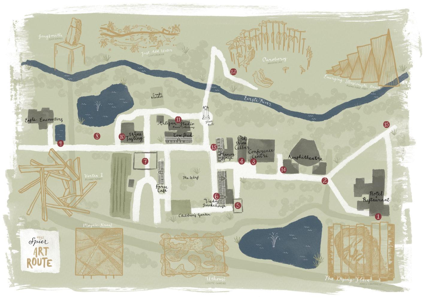 Spier Art Route Map